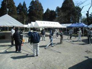 テントは木花地区、各団体の皆様のご協力で設営致しました